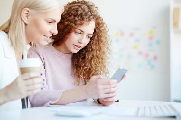 two women in app